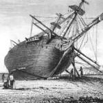 El Beagle varado en el estuario del Rio Santa Cruz
