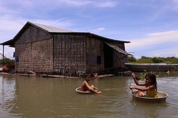 A vida flotando Tonle Sap